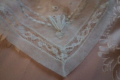 ANTIQUE EDWARDIAN DELICATE Embroidered Tulle/LACE COLLAR/ FRENCH DOLL