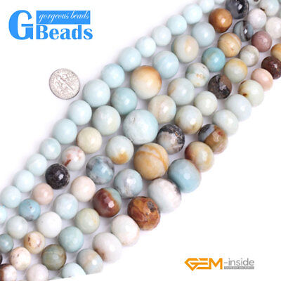 """Natural Amazonite Gemstone Faceted Graduated Round Beads For Jewelry Making 15"""""""