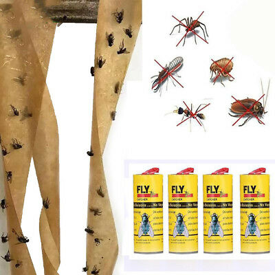 4 Rolls Sticky Fly Paper Eliminate Flies Insect Bug Glue Paper Catcher Traps