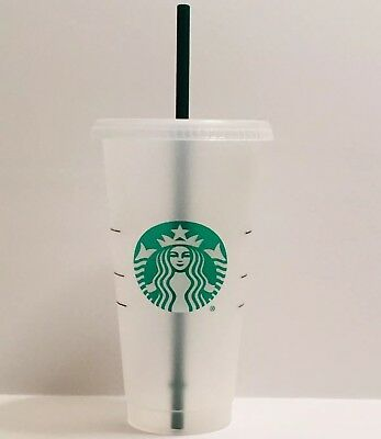 Starbucks Reusable Plastic Venti Cup Clear Frosted 24oz Cold Beverage + Straw