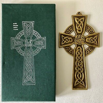 "Vintage IRISH Solid BRASS CELTIC Wall CROSS 7"" by Robert Emmet with Box IRELAND"