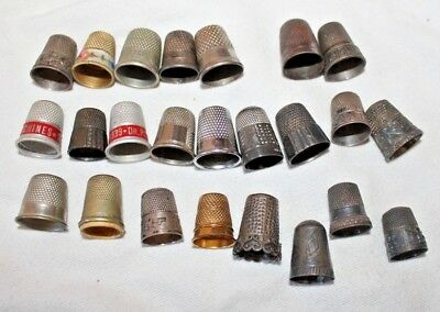 Lot Of 23 Antique Metal Thimbles Advertising Vintage Sewing