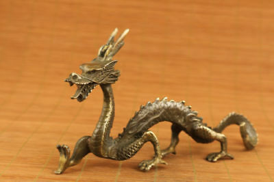chinese old bronze hand carved solid dragon statue figure collectable netsuke