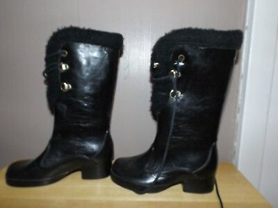 Vtg 60s 70s Black Girls Winter Rubber Faux Fur Lined Snow Boots Christmas Decor