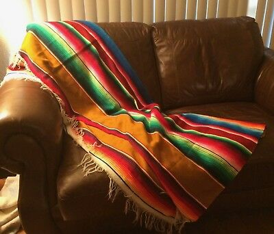 """Large Mexican Saltillo Serape Blanket - Throw - Bed Spread 88 """"x 61"""" Colorful"""