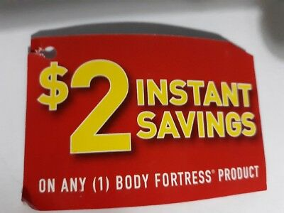 five (5) coupons - Save $2 off any body fortress product