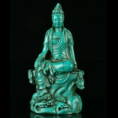 Chinese Turquoise Hand-carved Kwan-yin Statue R4016+a