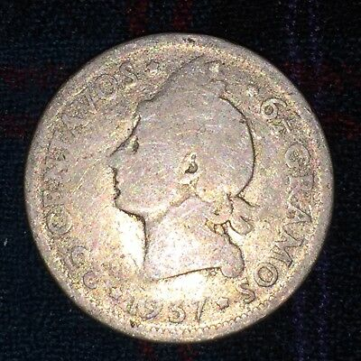 Dominican Republic 25 Centavos 1937 - 1st Year, Low 560,000 Strike, Silver