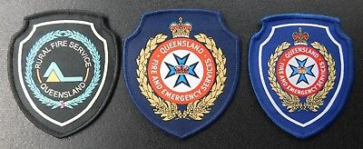 Queensland Fire & Emergency patches Lot x 3 - Collectors Patches Not Official