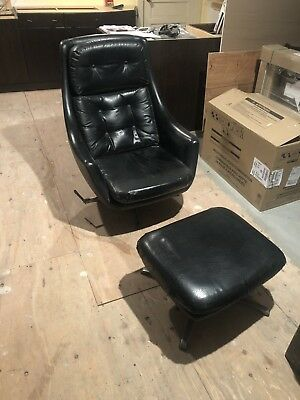 Vintage Mid Century Modern Overman Womb Egg Swivel Chair And Ottoman Black Vinyl