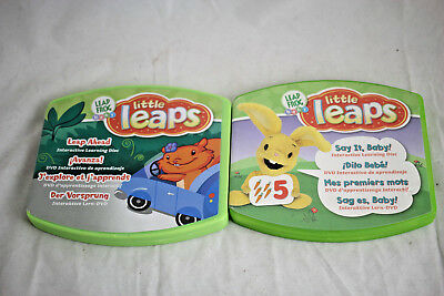 Lot Of 2 Leap Frog Baby Little Leaps Interactive DVDs Leap Ahead, Say It, Baby