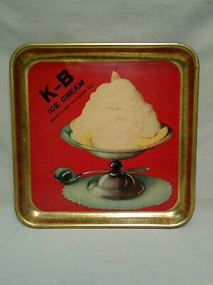 "RARE ANTIQUE 1920s/30s K-B ICE CREAM METAL LITHO SERVING TRAY-13-1/2"" X 13-1/2"""