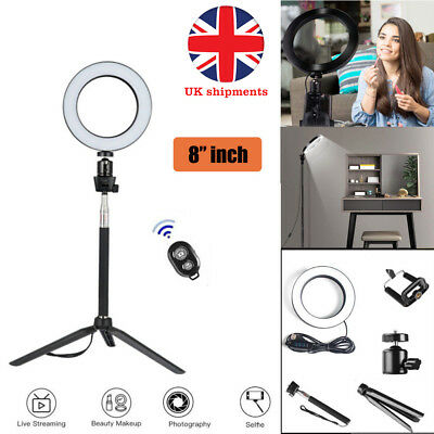 """8"""" LED Ring Light with camera Stand Lighting Kit light for Youtube Live Makeup"""