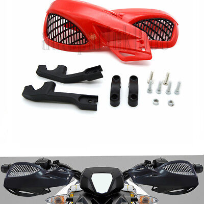 22mm Handlebar Motorcycle Red Plastic Hand Guard Protector With Mounting Kit