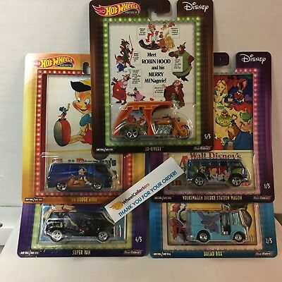 5 Car DISNEY SET * 2019 Hot Wheels Pop Culture A Case