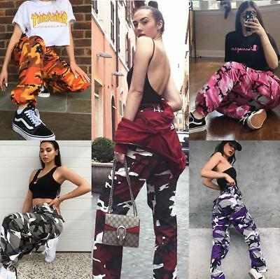 Womens Hip Hop Street Camouflage Pockets Pants Pink Camo Casual Joggers Trousers