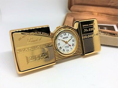 "Rare! New ZIPPO 1995 ""Time Tank"" Limited Edition Pocket Watch Gold No.0254"