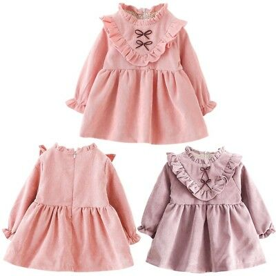 Toddler Baby Girl Long Sleeve Ruffled Princess Party Pageant Dress Clothes 6M-4T