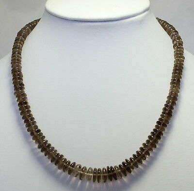 Smoky Quartz Necklace Precious Stone Beads Brown Women's 925 Silver 43cm