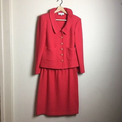 St John Collection By Marie Gray Vintage Womens Knit Suit Red Size 8