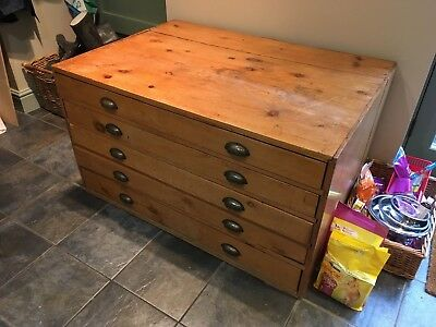 Vintage ~ 5 Drawer Architects Draughtsman Artist Plan Chest with Brass Handles