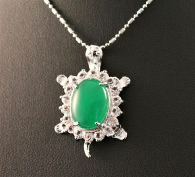 green Jade silver Amulet pendant necklaces