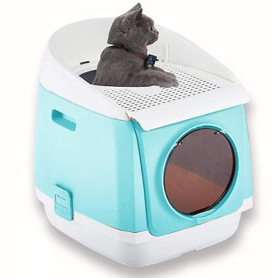 Two Door Entry Cat Litter Box Easy Clean Fully Enclosed Cat Toilet Reduce Litter