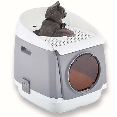 Two Door Entry Cat Litter Box Easy Clean Fully Enclosed Cat Toilet Include Scoop