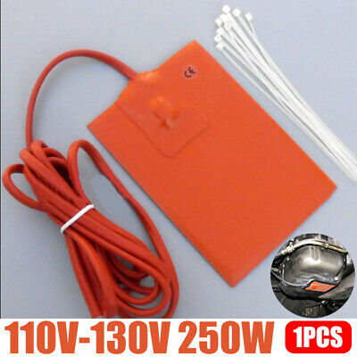 Car Engine Oil Pan Sump Tank Heater 250W 110V Silicone Heating Pad+10Pcs Zip Tie