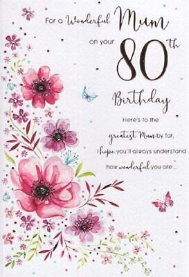 "ICG Mum 80th Birthday Card - Pink, Lilac & Orange Flowers In Gift Box 9"" x 6"""