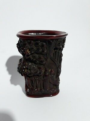 Chinese Carved Ox Horn Water Cup