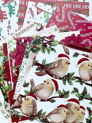"BULK CHRISTMAS SCRAPBOOK CRAFT PAPER x 28 CARD MAKING /15cm X 15cm (6""x6"")"