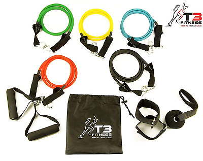 T3 Fitness Natural Latex 11pc Set of Durable Resistance Exercise Bands, 5 2x...