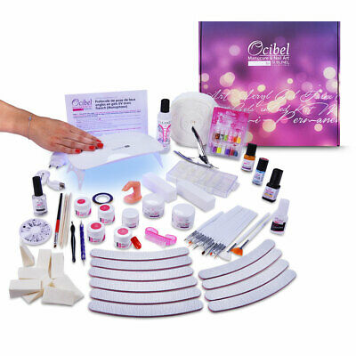 Kit XL Manucure Faux Ongles Lampe LED/UV Gel Monophase & 4 Gels Couleurs
