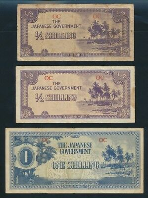"Oceania: JAPANESE INVASION WWII 1942 ½ & 1 Shilling ""SET OF 3 NOTES"". Pick 1a-2a"