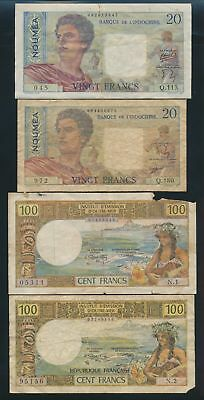 "New Caledonia: 1958-73 20 to 100 Francs ""COLLN 5 DIFFERENT NOTES"". Pick 42e-63b"