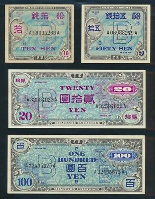 "Japan: ALLIED OCCUPATION 1945 10S to 100Y B Series ""SET OF 4"". P63-75 NEF to UNC"