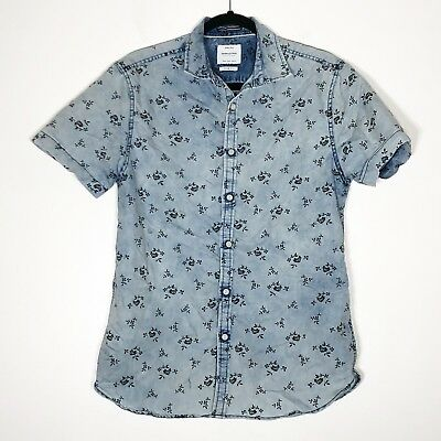 76b9c43bf8 Denim   Flower Ricky Singh Shirt Men s Medium Slim Fit Blue Black Button  Front