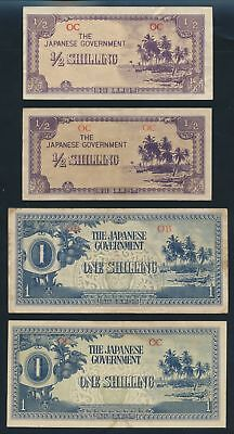 "Oceania: JAPANESE INVASION WWII 1942 ½ Shilling to £1 ""SCARCE SET OF 6"". P1a-4a"