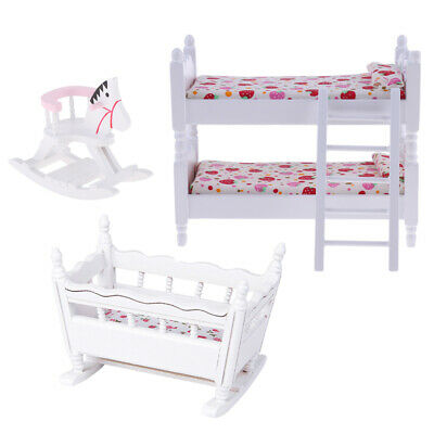 1/12 Dolls House Miniature Bedroom Furniture Kids Bunk Bed Cradle Cockhorse
