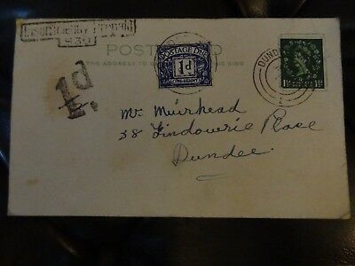Postcard to Dundee Angus about Chimney  Sweeping with Postage Due and Insufficie