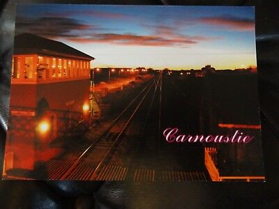 The Railway Signal Box at Sunset Carnoustie Postcard Dundee Angus