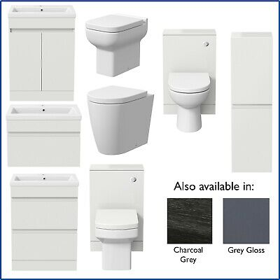 Bathroom Furniture Basin Vanity Toilet WC Unit Tall Cabinet White Grey Charcoal