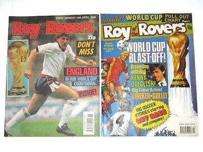 2 x ROY of the ROVERS COMICS. APRIL & JUNE 1990. PLAYMAKER, BILLY BOOTS, HAMISH