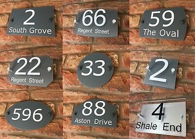 House Number Sign / Plaque. Modern Contemporary Door / Address / Grey / Acrylic