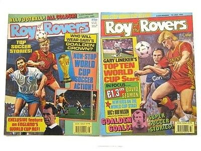 2 x ROY of the ROVERS COMICS. JUNE & JULY 1990. GOALMOUTH, SUNDAY SQUAD etc