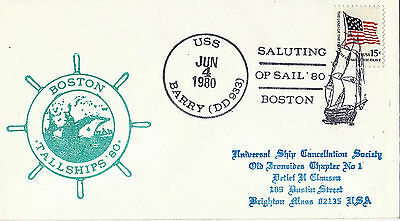 4 June 1980 Uss Barry Dd 933 Us Destroyer Cached Cover Boston Tallships '80