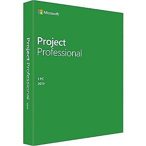 NEW! Microsoft Project 2019 Professional for Windows 10 Box Pack 1 Pc Medialess