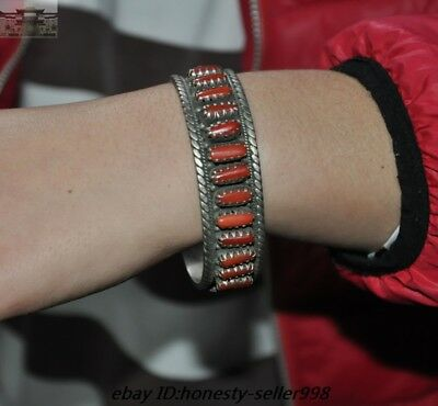 Old Chinese Silver inlay Red Coral Ancient jewelry amulet Bracelets bracelet
