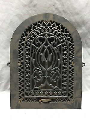 Antique Cast Iron Arch Gothic Heat Grate Wall Register 9X13 Dome Vtg  60-19D